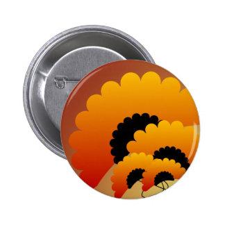 Bright Orange and Black Flowers Button