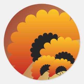 Bright Orange and Black Flowers Classic Round Sticker