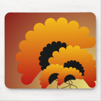 Bright Orange and Black Flowers Mouse Pad