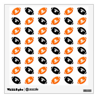 Bright Orange and Black Football Pattern Wall Decal
