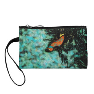 Bright Orange and Blue Beta Fish Coin Wallet