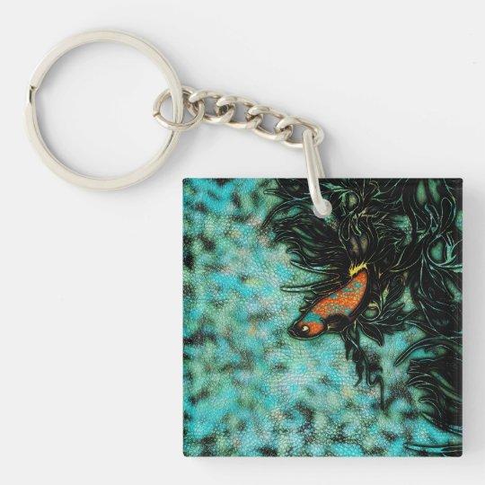 Bright Orange and Blue Beta Fish Keychain
