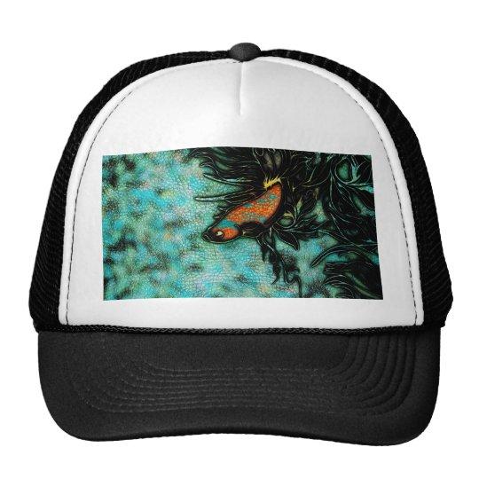 Bright Orange and Blue Beta Fish Trucker Hat