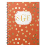 Bright Orange and Gold Glitter City Dots Notebook