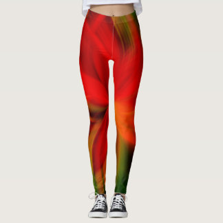 Bright Orange And Green Abstract Leggings