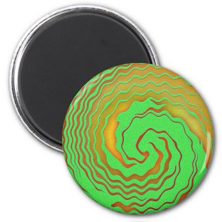 Bright Orange and Green Abstract Swirl Magnet