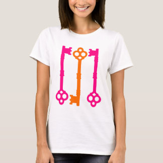 Bright orange and hot pink old keys T-Shirt