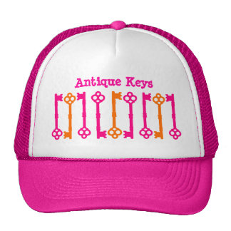 Bright orange and hot pink old keys trucker hat