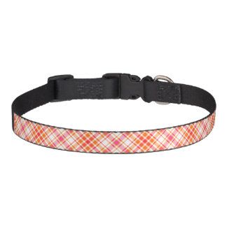 Bright Orange and Hot Pink Plaid Pattern Pet Collar