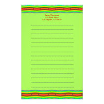 Bright orange and lime green stationery