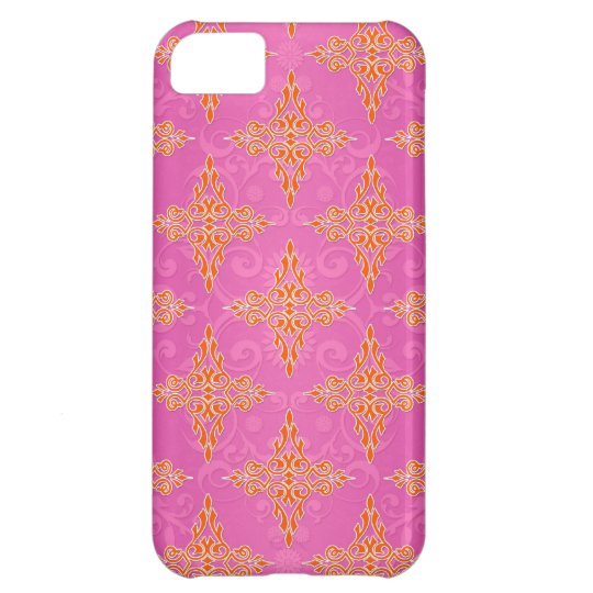 Bright Orange and Pink Double Damask Case For iPhone 5C