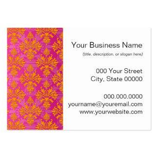 Bright Orange and Pink Floral Damask Large Business Card