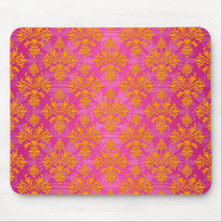 Bright Orange and Pink Floral Damask Mouse Pad