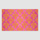 Bright Orange and Pink Floral Damask Rectangle Sticker