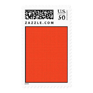 Bright Orange and Red Mini Polka Dots Pattern Postage