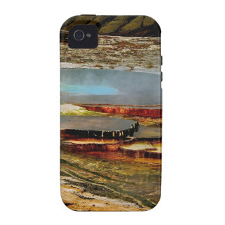 BRIGHT ORANGE AND TURQUOISE VOLCANIC LAYERS iPhone 4/4S COVER