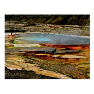 BRIGHT ORANGE AND TURQUOISE VOLCANIC LAYERS POSTCARD