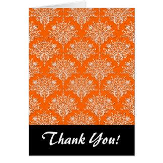 Bright Orange and White Damask Card
