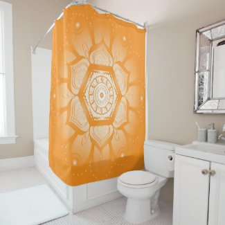 Bright Orange and White Mandala Shower Curtain