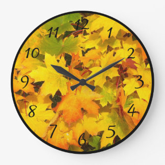 Bright Orange and Yellow Fall Foliage Large Clock