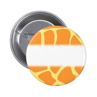 Bright Orange and Yellow Giraffe Print Pattern. 2 Inch Round Button