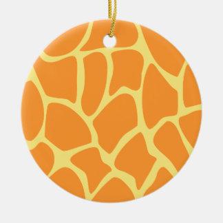 Bright Orange and Yellow Giraffe Print Pattern. Ceramic Ornament