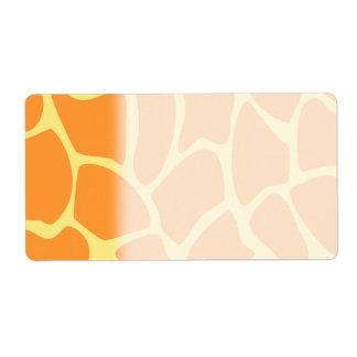 Bright Orange and Yellow Giraffe Print Pattern. Label