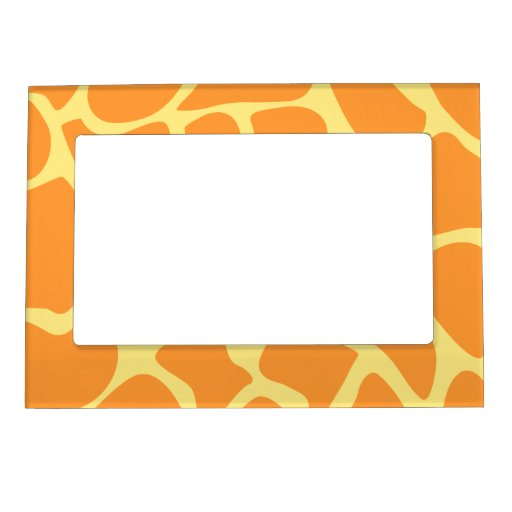 Bright Orange and Yellow Giraffe Print Pattern. Magnetic Picture Frame