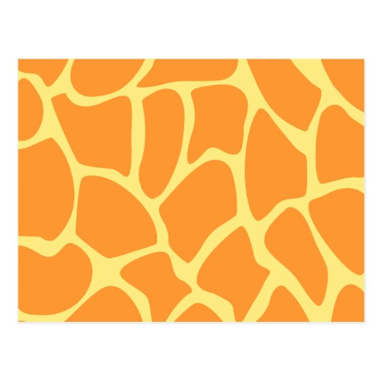 Bright Orange and Yellow Giraffe Print Pattern. Postcard