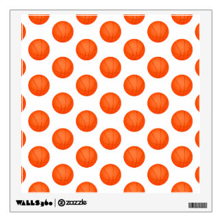 Bright Orange Basketball Pattern Wall Sticker