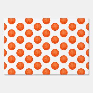 Bright Orange Basketball Pattern Lawn Signs