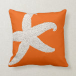 "Bright Orange Big Starfish Decorative Throw Pillow<br><div class=""desc"">Bright,  persimmon orange square,  throw pillow with big starfish / sea star images.  Coastal home decor accent will brighten any room of the house.</div>"