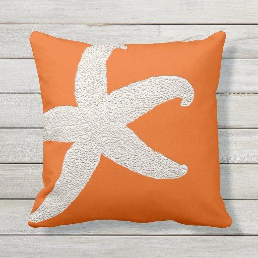 Bright Orange Big Starfish Decorative Throw Pillow Zazzle