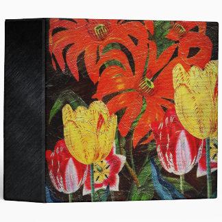 Bright Orange Botanical Vintage Oil Painting 3 Ring Binder