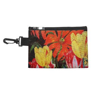 Bright Orange Botanical Vintage Oil Painting Accessory Bag