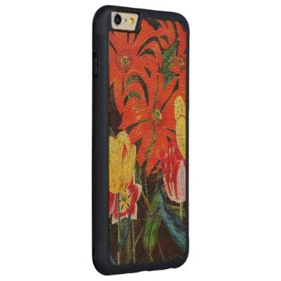 Bright Orange Botanical Vintage Oil Painting Carved® Maple iPhone 6 Plus Bumper