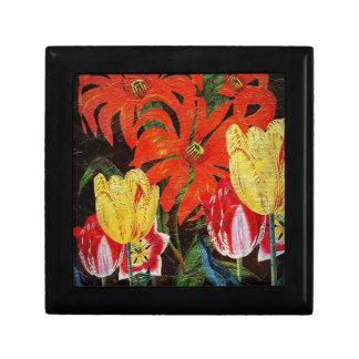 Bright Orange Botanical Vintage Oil Painting Gift Box