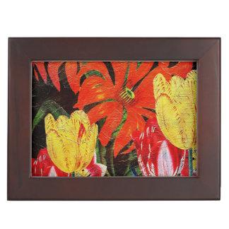 Bright Orange Botanical Vintage Oil Painting Memory Box