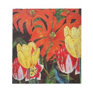 Bright Orange Botanical Vintage Oil Painting Notepad