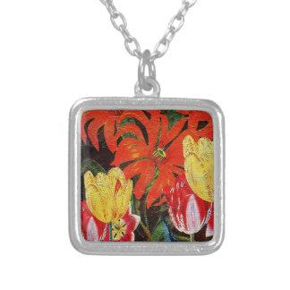 Bright Orange Botanical Vintage Oil Painting Square Pendant Necklace