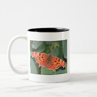 Bright orange butterfly. Comma. Two-Tone Coffee Mug