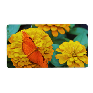 Bright Orange Butterfly Label