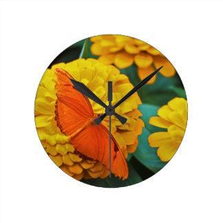 Bright Orange Butterfly Round Clock