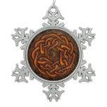 Bright orange celtic knot on leather digital art snowflake pewter christmas ornament