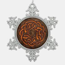 Bright orange celtic knot on leather digital art