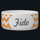 "Bright Orange Chevrons - Custom Text Bowl<br><div class=""desc"">Edit the text or monogram initial to create a custom item with a cool bright orange chevron background.</div>"