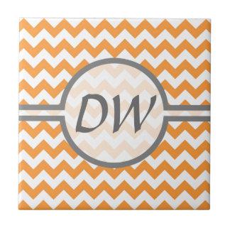 Bright Orange Chevrons - Custom Text Ceramic Tile