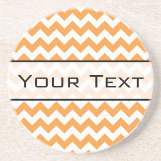 Bright Orange Chevrons - Custom Text Beverage Coaster