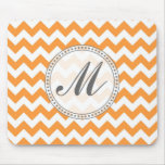 Bright Orange Chevrons - Custom Text Mouse Pad