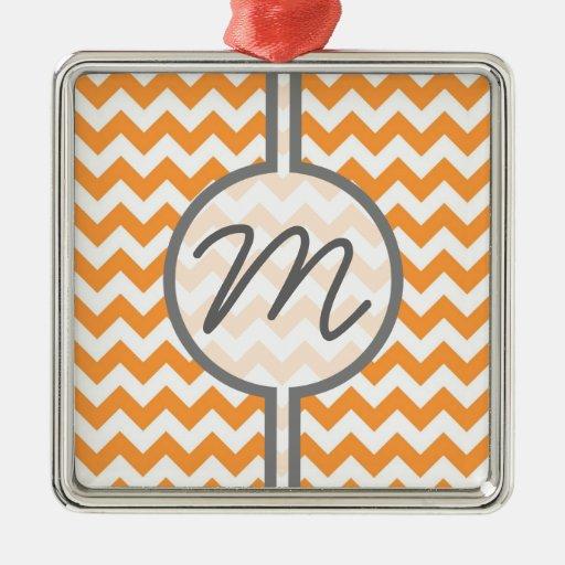 Bright Orange Chevrons - Custom Text Christmas Ornament